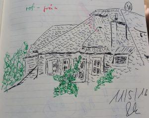 Skizze mit Pentel, schwarz und grün